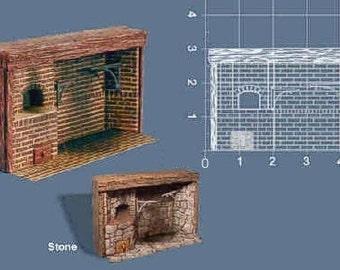 Dollhouse Miniature Colonial Walk-In Brick Fireplace in 1:24 Scale