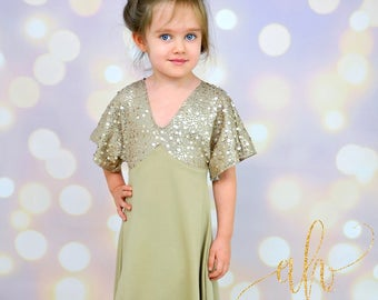 Girls Portia Party Dress Full Version PDF Sewing Pattern - Newborn to 12 years, knit or woven, four lengths, half or full open back slit
