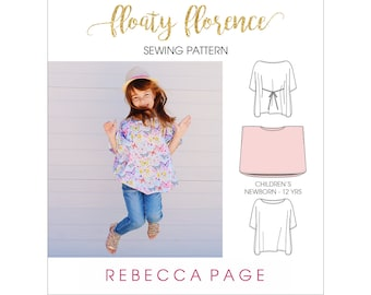Floaty Florence – Children's Floaty Top PDF Sewing Pattern - Newborn to 12 years, high or low hem, double flat-fell seam option & tutorial