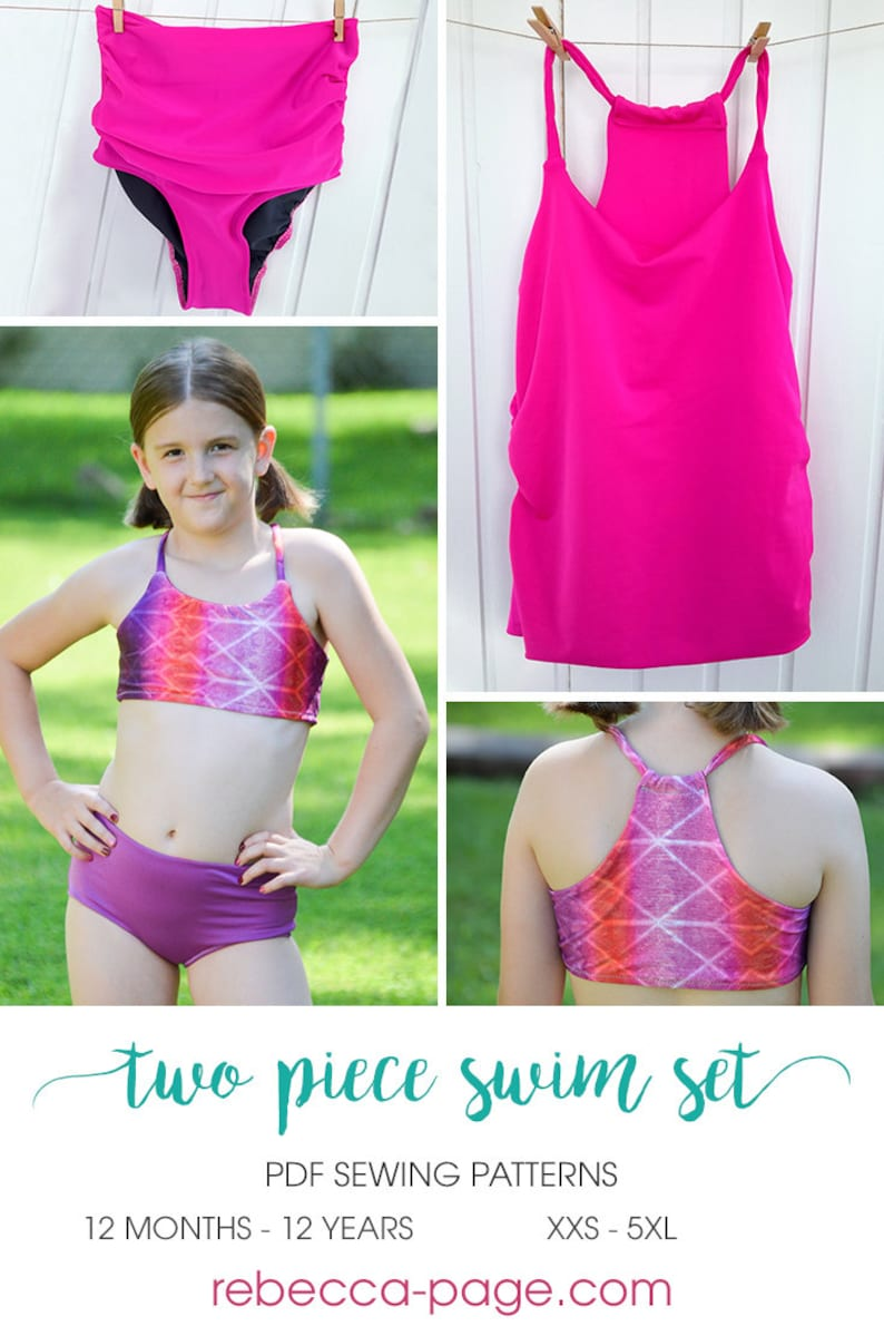 Newborn to 12 yrs and XXS to 5XL BUNDLE Two Piece Swim Set PDF Sewing Patterns mid or high rise fit power mesh optional crop or tankini