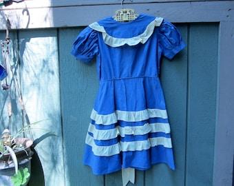 1930s Antique Girls Dress/Handmade Cotton Ruffle Bow Dress/ Vintage 1930s Childrens Clothing