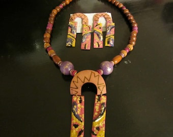 Jewelry Vintage 1980s Paper Mache Necklace and Earrings Set, Wooden Painted Art jewelry. Sale