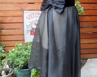 8c70d919047c Vintage sheer black and satin ballet high-low wrap skirt/dance shirt/Sheer  black party skirt