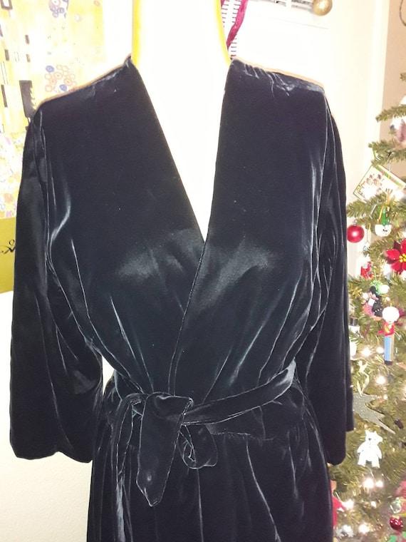 Black Velvet Hostess Maxi Dress/Black Velvet Robe/