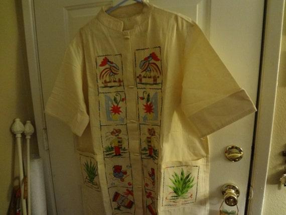 1960s/Embroidered Dress Coat/ Shift Dress Vintage