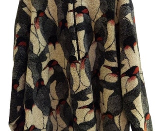 Plus Size Junonia Fleece Pullover Happy Penguin Design