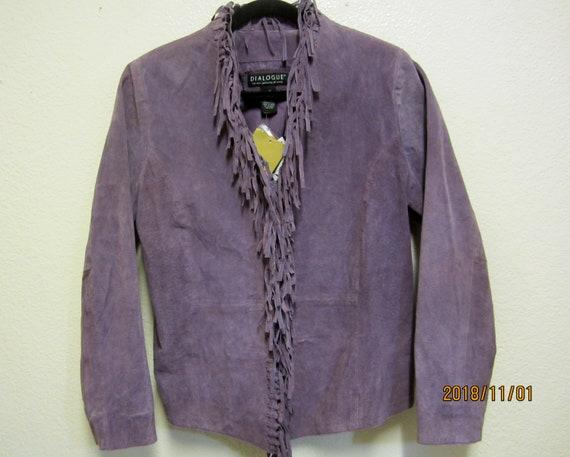 Leather Jacket/1990's Purple Suede Texture Fringe