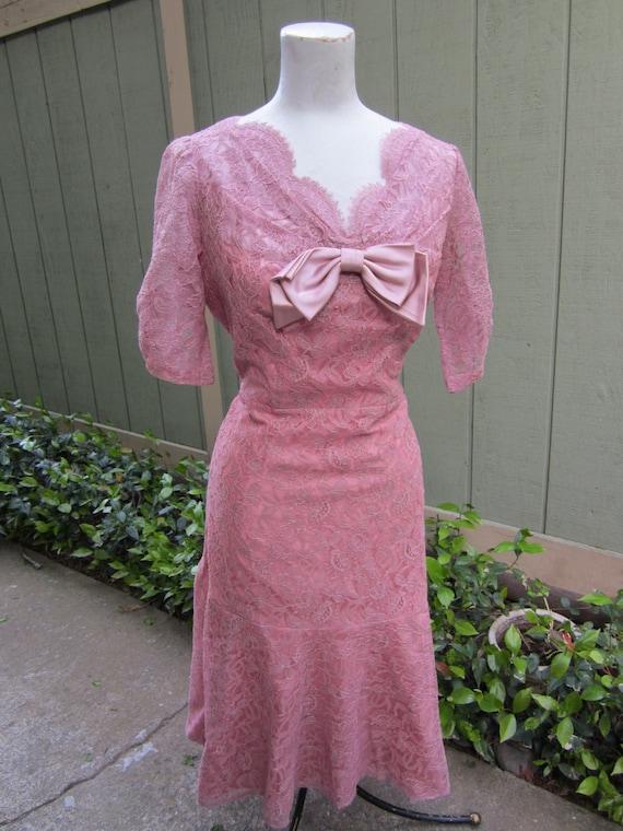 1950's Lace Party Dress/ Vintage Wedding Party Dre