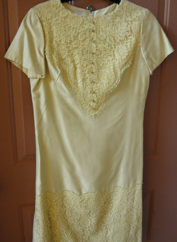 Vintage 1960s Silk Dress/ Silk and Lace 1960s Dres