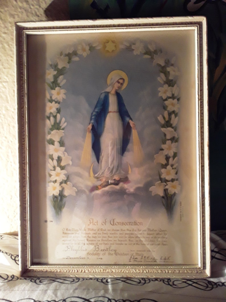 Holy Mary Virgin Mother of God Lithograph  Dated Copyright 1934 N G Basevi  Act of Consecration Presentation New Low Price Was 125
