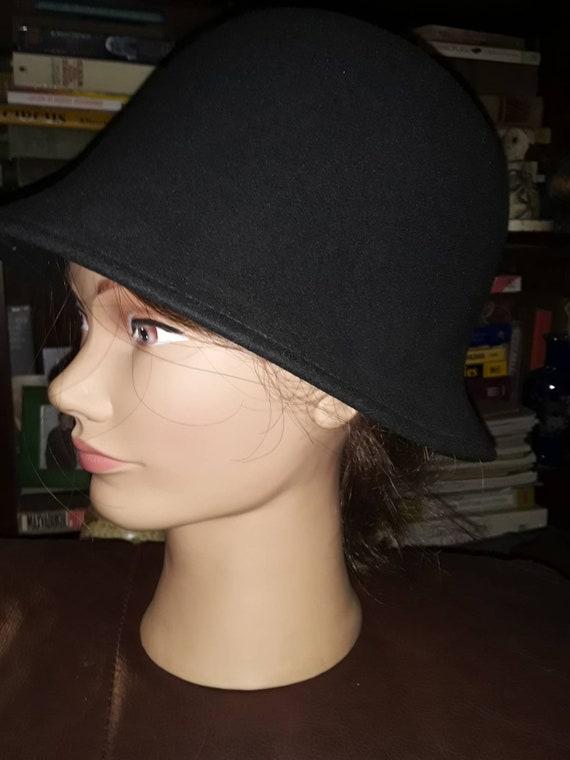 Vintage Packable Bucket Hat/Black Wool Bucket Hat/