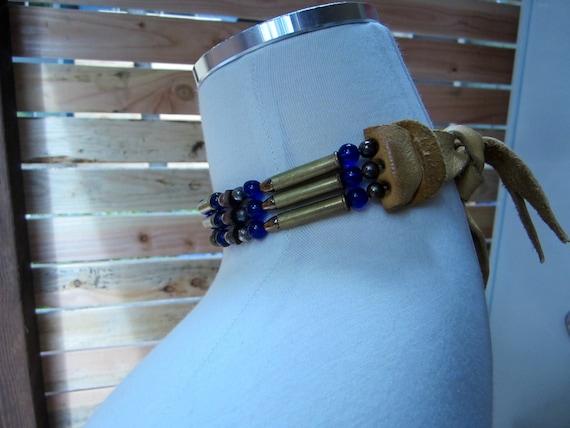1960s Jewelry Deerskin Choker/ Bullet Choker/ Bead