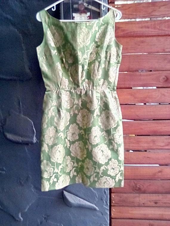 Vintage 1950's Wiggle Dress  Brocade Satin Dress