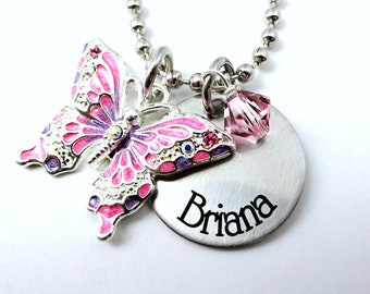 Engraved personalised girls daughter niece big sister butterfly necklace gift