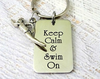 Swimming Swimmer Key Chain - Keep Calm & Swim On - Men Woman Accessory - Keychain Key Ring - Swim Team - Swim Coach