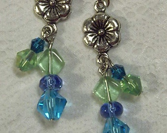 Cynthia Lynn Silver Blue & Green Crystal Daisy Earrings Inspired by DOODLE DAISY 2.25 inches