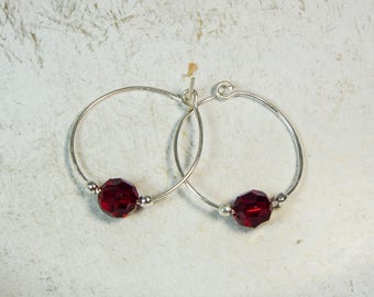 "Cynthia Lynn ""CELEBRATE""  Ruby Red Swarovski Crystal July Birthstone Silver Hoop Earrings"