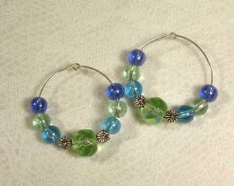 Cynthia Lynn Blue & Green Glass Bead Silver Daisy Hoop Earrings Inspired by DOODLE DAISY 1.5 inches