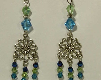 Cynthia Lynn Silver Blue & Green Glass Bead Crystal Flower Daisy Chandelier Earrings Inspired by DOODLE DAISY 3 inches