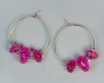 "Cynthia Lynn ""THINK PINK"" Pink Tourmaline October Birthstone Silver Hoop Earrings .75 inch"