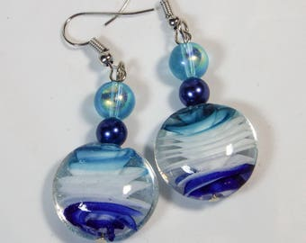 "Cynthia Lynn ""SUMMER BLUES"" Blue & Aqua Lamp Work Beaded Earrings"