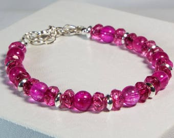 "Cynthia Lynn ""THINK PINK"" Sterling Siver Pink Tourmaline October Birthstone Bracelet"