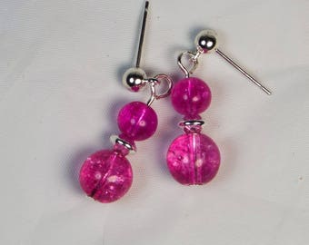 "Cynthia Lynn ""THINK PINK"" Pink Tourmaline October Birthstone Silver Earrings 1 inch"