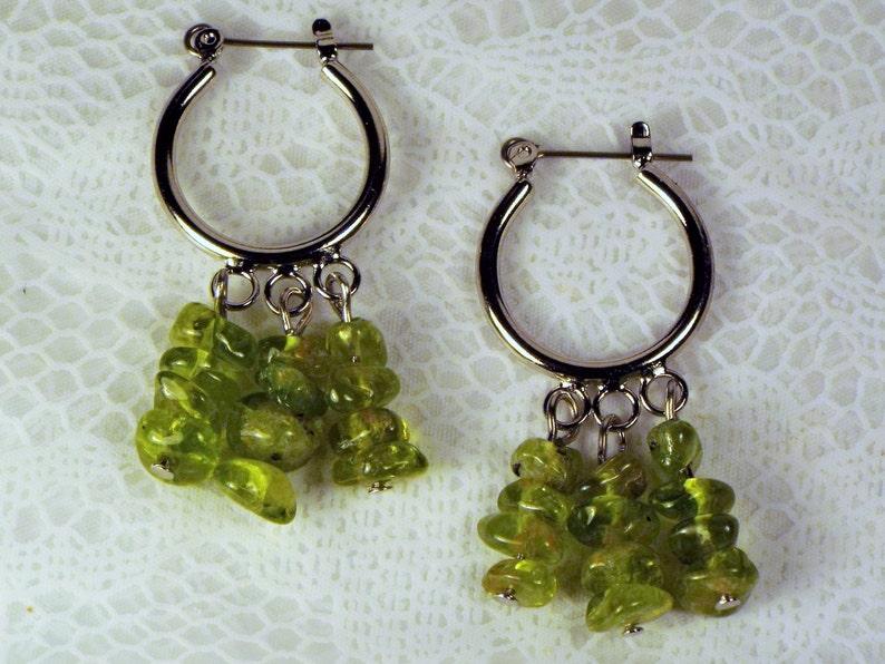 Cynthia Lynn PERIDOT PASSION August Birthstone Green Peridot Beaded Silver Chandelier Hoop Earrings 1.75