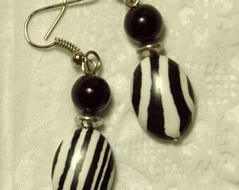 "Cynthia Lynn ""KENYA"" Black and White Zebra Animal Print Silver Earrings"