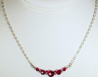 """Cynthia Lynn """"CELEBRATE"""" Ruby Red Swarovski Crystal July Birthstone Silver Necklace"""