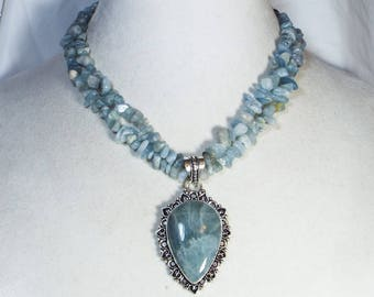 """Cynthia Lynn TRANQUIL"""" Sterling Silver Natural Blue Aquamarine Beaded Necklace"""