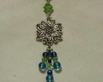 Cynthia Lynn Rhodium Silver Blue & Green Glass Bead Crystal Daisy Necklace Inspired by DOODLE DAISY