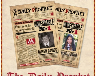 Printable Harry Potter Daily Prophet Front Page Custom Made Etsy