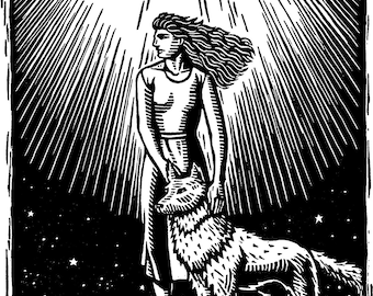 Women Who Run with the Wolves, black & white wood engraving, signed limited edition of 30. I was the illustrator for the original book.