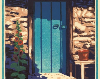 Door Like the Sky, 8 block woodcut, signed edition of 30.