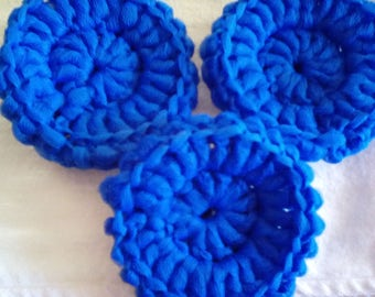 Set of 3 Royal blue crocheted scrubbies