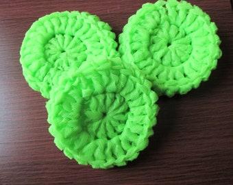 Set of 3 crocheted Apple Green scrubbies