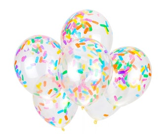 Sprinkles Confetti Balloons - 6 pre-filled confetti balloons, Handmade with Happiness® in the USA