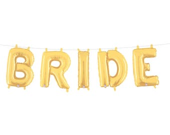 Bride Letter Balloons Engagement Party Decor Bridal Shower Decorations Bachelorette Party Decor Balloon Banner Gold Silver Mylar Balloons