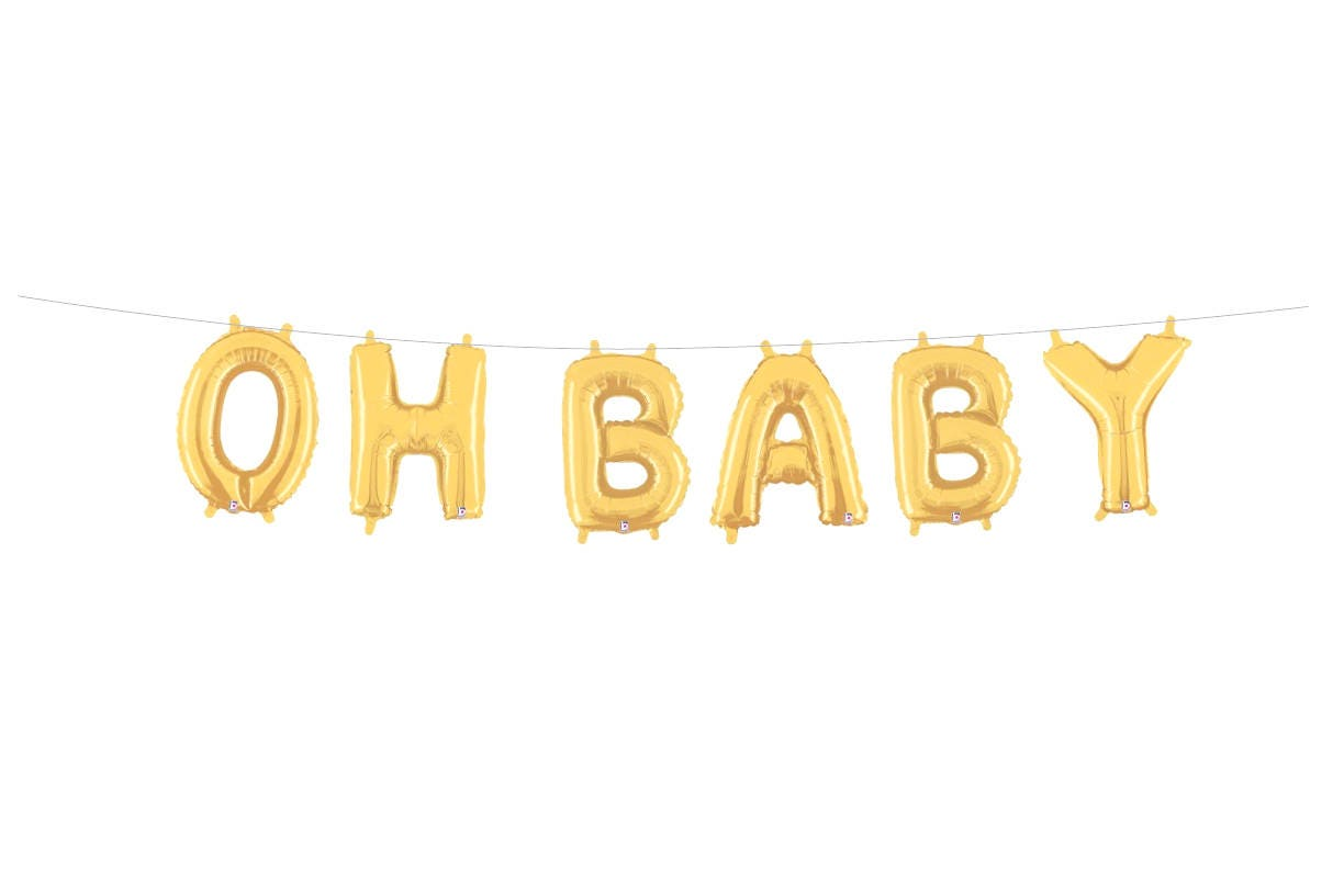 oh baby balloons letter balloons banner baby shower banner etsy