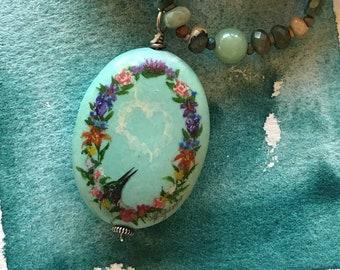 Floral Wreath Painted Pendant