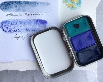 Watercolor of Copper, Lapis & Azurite