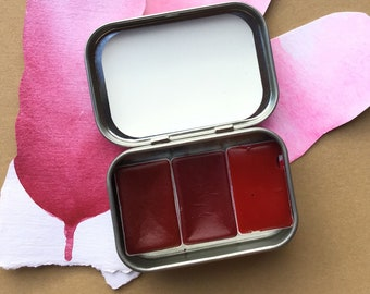 A Set of 3 Red Handmade Watercolors