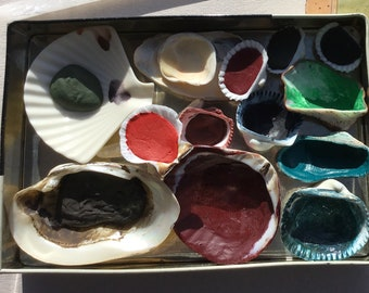 Watercolor Shell Palette In An Old Chocolate Tin