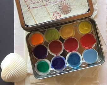 The Personal Watercolor Shell Paint Palette of 12