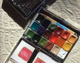 A Watercolor Tin w/ 18 Handmade Watercolors