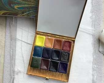 Set of 12 Handmade Watercolors in A Brass Compact