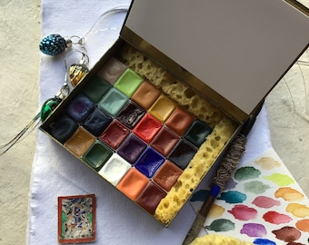 24 Watercolors In An Antique Cloisonné  Box