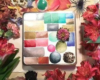 23 Semi Precious, Metal & Plant Dye Watercolor Set