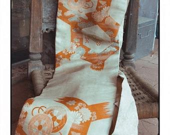 A Vintage Orange and White Obi